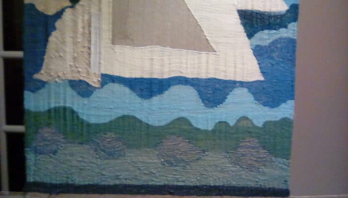 62cm 62 cm. linen warp. cotton and wool weft. Wall Hanging